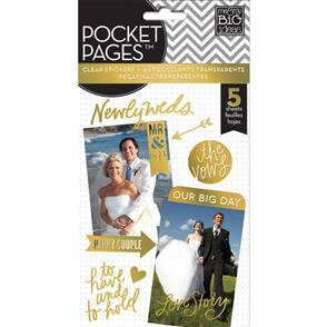 Me & My Big Ideas  Wedding Day - Gold - Clear Stickers - 5 Sheets