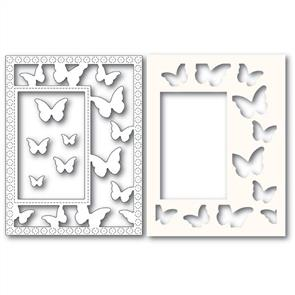 Poppystamps  Beautiful Butterflies Frame and Stencils