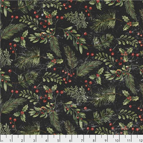 Free Spirit Tim Holtz Eclectic Elements Fabric - Festive Greens - Black