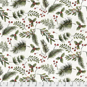 Free Spirit Tim Holtz Eclectic Elements Fabric - Festive Greens - White