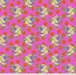 Free Spirit Tula Pink Fabric - Curiouser and Curiouser Collection - Painted Roses - Daydream