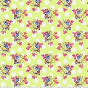 Free Spirit Tula Pink Fabric - Curiouser and Curiouser Collection - Painted Roses - Sugar