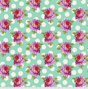 Free Spirit Tula Pink Fabric - Curiouser and Curiouser Collection - Painted Roses - Wonder