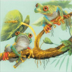 "Riolis  Stamped Cross Stitch Kit 7.75""X7.75"" - Frogs"