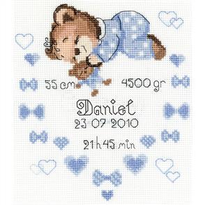 Riolis  Boys Birth Sampler - Cross Stitch Kit