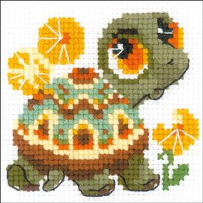 """Riolis  Counted Cross Stitch Kit - 4""""X4"""" - Little Turtle"""