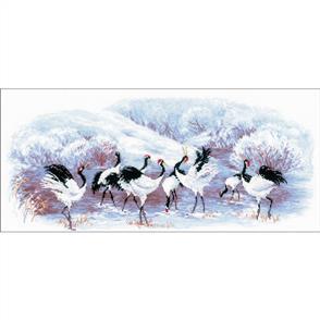 "Riolis  Counted Cross Stitch Kit - 21.75""x9.75"" - Japanese Cranes"