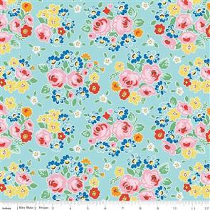 Riley Blake  Bluebirds on Roses - 7940 Blue
