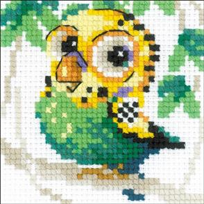 "Riolis  Counted Cross Stitch Kit 4""X4"" - Parakeet"