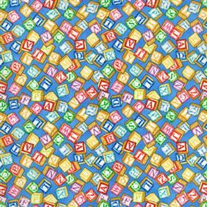 RJR Fabric  s - Alphabet Blocks Blue