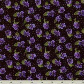RJR Fabric  s - Lovely - Small Pansies Purple