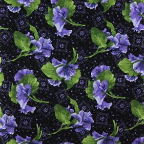 RJR Fabric  s - Lovely - Tossed Pansies Black