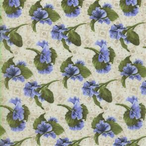 RJR Fabric  s - Lovely - Tossed Pansies Purple
