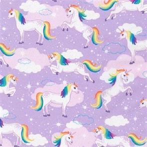 Robert Kaufman  Enchanted Unicorns Purple