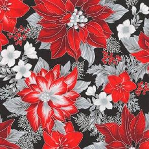 Robert Kaufman  Holiday Flourish - 17336 Black w/ Red