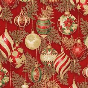 Robert Kaufman  Holiday Flourish - 17338 Red w/ Gold