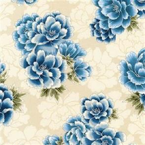 Robert Kaufman  Imperial Collection - 16753 Blue on Cream