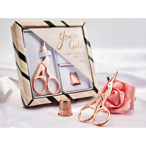 Trendy Trims Rose Gold Stork Scissor & Thimble Gift Set