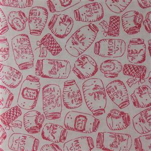 Red Rooster  Fabric - Aunt Ruthie's Farm Stand - Jars Pink