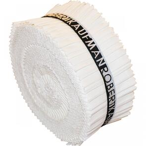 Robert Kaufman  2-1/2in Strips Roll Up Kona Solids White Colorway 40pcs