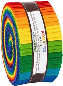 Robert Kaufman  Strips Kona Cotton Bright Rainbow Palette, 40pcs/bundle