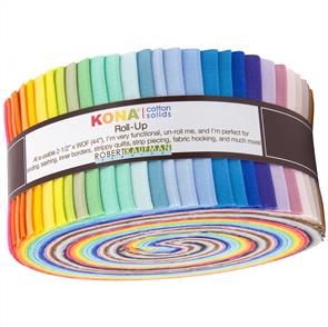 "Robert Kaufman  Kona Solid Roll-Up - 2017 New Colours 2.5"" 40pce"