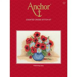 Anchor  Essential Kits: Cross Stitch Poppy Spray