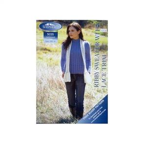 Shepherd  Pattern 5035 Ribby Sweater with Lace Trim