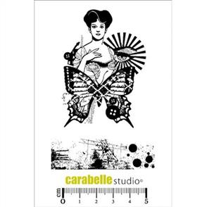 Carabelle Studio Rubber Stamp - Woman & Butterly Collage 2/Pkg