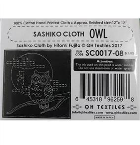 """QH Textiles Sashiko Panel - Owl Navy - 12"""" x 12"""""""