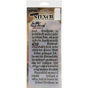 "Stampers Anonymous Tim Holtz Layered Stencil 4.125""X8.5"" - Script -Layered"