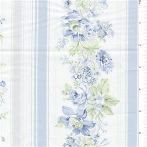 MISC  Shabby Chic - Wildflowers - Floral Stripe Blue