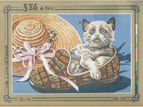 SEG De Paris  Tapestry Canvas 30X40 Kitten In Slipper