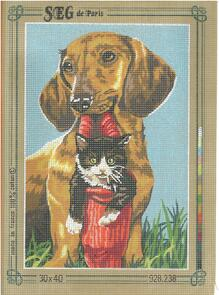 SEG De Paris  Tapestry Canvas  30X40 Daschund And Cat