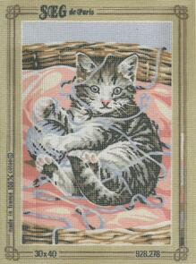 SEG De Paris  Tapestry Canvas 30 X 40   Kitten With Wool