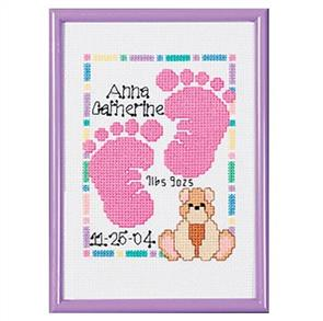 Janlynn  Baby Footprints - Counted Cross Stitch Kit - Birth Record