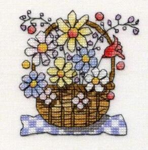 Michael Powell Mini Basket of Flowers Cross-Stitch Kit