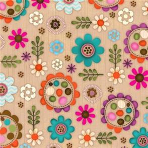 SPX Fabric  Woodland Critters - Flowers Oak
