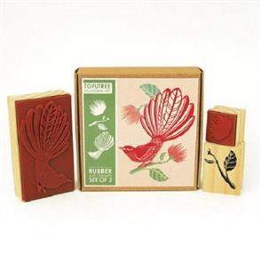 Tofutree Fantail & Pohutukawa - Rubber Stamp Set