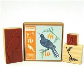 Tofutree Tui & Kowhai - Rubber Stamp Set