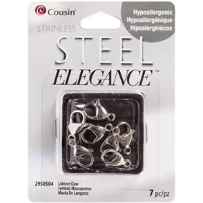 Cousin Stainless Steel Elegance Beads & Findings - Lobster Claw Clasps 7/Pkg