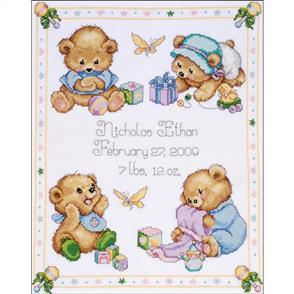 Tobin  Baby Cross Stitch Kit: Baby Bears Birth Record