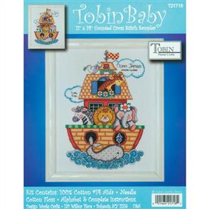 Tobin  Baby Cross Stitch Kit: Noah's Ark Birth Record