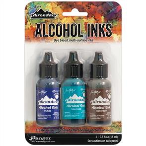 Ranger Ink  Tim Holtz Alcohol Ink .5oz 3/Pkg - Mariner