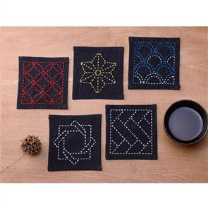 Olympus  Sashiko Tsumugi Sampler Coasters Sumi Black