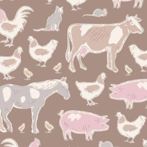 Tilda Tilda Fabric - Tiny Farm - Animals Brown
