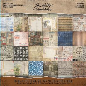 Idea-Ology Tim Holtz Paper Stash - Etcetera - 24 Papers 8x8""