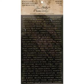 Idea-Ology Tim Holtz Metallic Stickers 316/Pkg - Quotes Gold
