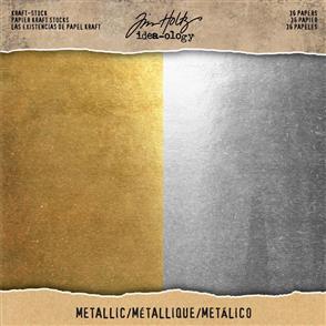 "Idea-Ology Tim Holtz Cardstock Pad 8""X8"" 36/Pkg - Metallic"