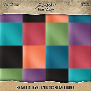"Idea-Ology Tim Holtz - Paper Stash Kraft Metallic Paper Pad 8"" x 8"" 36/Pkg"